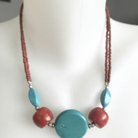 Turquoise Necklace ,Coin turquoise  necklace, Statement necklace