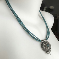 Pendant necklace,  Tibetan necklace,  Statement Necklace, Turquoise necklace