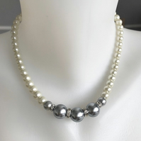 Shell pearl necklace, Pearl necklace, Statement necklace ,Grey pearl necklace