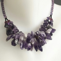 Amethyst necklace,  Statement necklace, Gemstone necklace, Choker amethyst