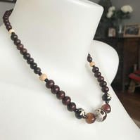 Wooden beads necklace, Beaded necklace, Mixed beads necklace