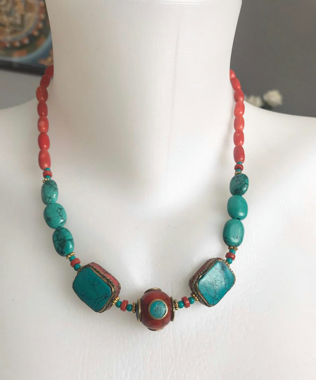 Turquoise necklace, Beaded necklace, Statement necklace, Boho necklace