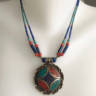 Pendant necklace,Tibetan necklace, Statement necklace,Beaded necklace