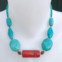 Turquoise necklace, Chunky jewellery, Statement necklace,Semi-precious beads