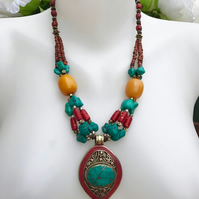 Tibetan necklace,Statement necklace,Asian necklace, Vintage beads necklace