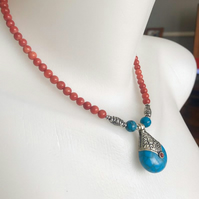 Pendant necklace,Tibetan necklace, Statement necklace, Asian necklace