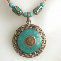 Pendant necklace,Tibetan necklace,Statement necklace,Asian necklace, Om necklace