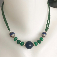 Lapis Necklace, Beaded necklace, Gift for her, Gift for mum, Birthday gift ideas