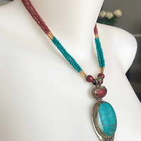 Statement necklace,Pendant necklace ,Tibetan necklace, Turquoise Necklace