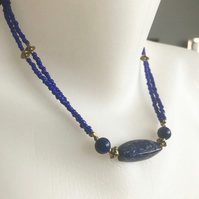 Lapis necklace, Double line necklace, Statement Lapis, Beaded necklace,