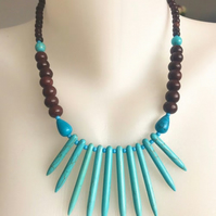 Turquoise Necklace, Statement turquoise necklace, Turquoise spikes necklace,
