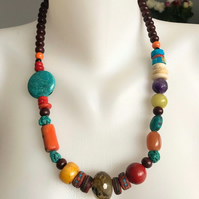 Statement necklace, Chunky beads necklace, Beaded necklace, Gemstone necklace