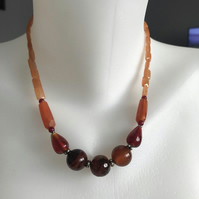 Gemstone  necklace, Beaded necklace, Carnelian necklace, Gift for her