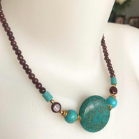 Coin turquoise Necklace, Statement necklace, Garnet necklace, Beaded necklace