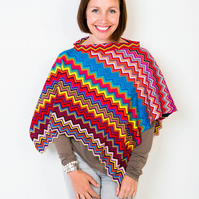 Poncho, Chevron Poncho, Accessories, Knit Wear, Bohemian, 407