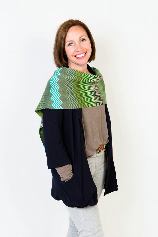 Green Scarf, Colorful Scarf, Chevron Shawl, Spring Wrap, Bohemian Stole, 155