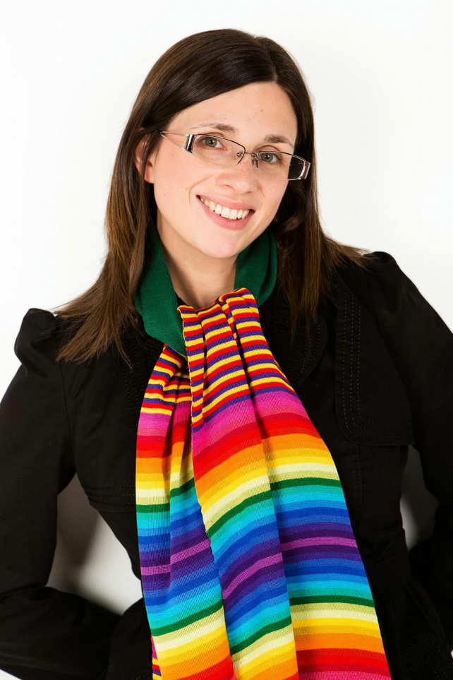 Rainbow Scarf, Striped  Knitted Scarf,  Winter Scarf, Knit Wear,  161
