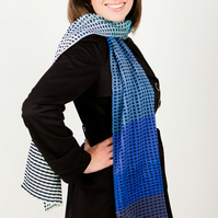 Blue Scarf, Squares Scarf, Bohemian Scarf, Accessories, Knit Wear, 150