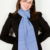 Blue Scarf, Striped Scarf, Winter Scarf, Designer Scarf, 119