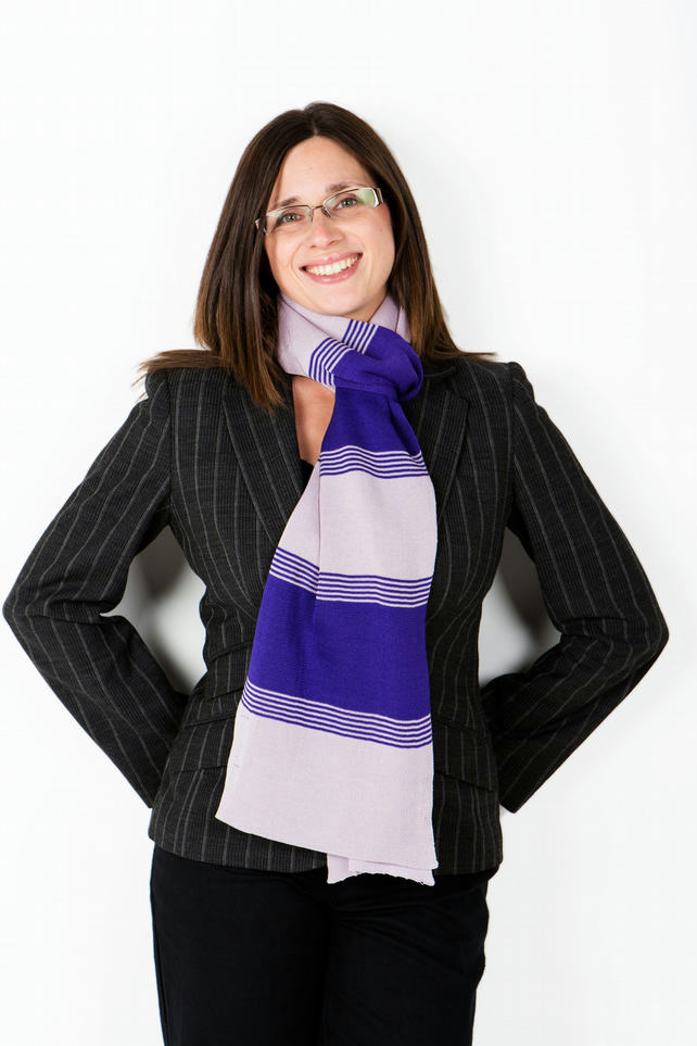 Purple Scarf,Striped Scarf, Knitted Scarf, Autumn, Winter Scarf, 120
