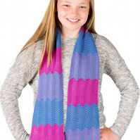Girls Scarf, Personalised Scarf,  Chevron Scarf with Hearts Motifs 106