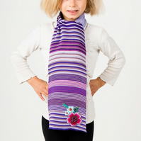 Flowers Scarf, Purple Scarf,  Stripe Scarf, Personalised Scarf,   234