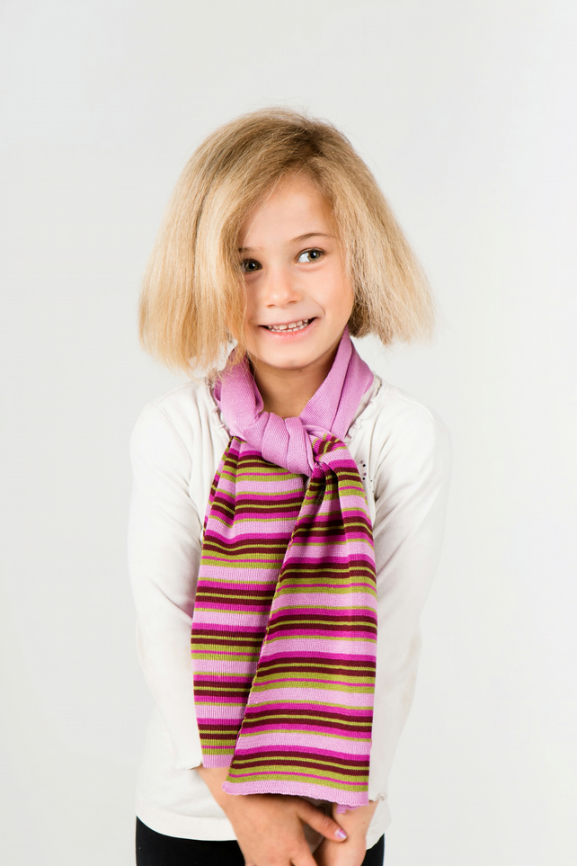 Girls Scarf, Personalised Scarf, Striped Scarf with Flower Motif 319