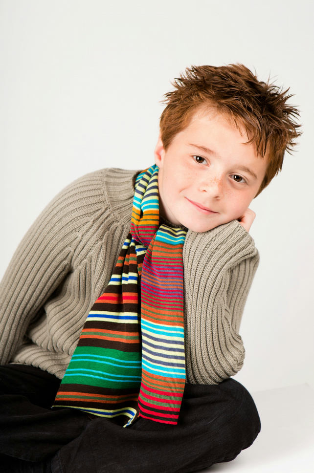 Boys Scarf, Personalised Scarf,  Multi Coloured Striped Scarf 213