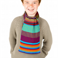 Boys Scarf, Personalised Scarf,  Turquoise, Purple Squares Scarf 226