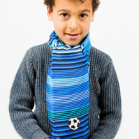 Football Scarf, Personalised Scarf,  Boys Scarf,  Blue Scarf,Striped Scarf 234
