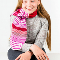 Girls Scarf, Personalised Scarf, Striped Scarf, Pink Scarf,  234