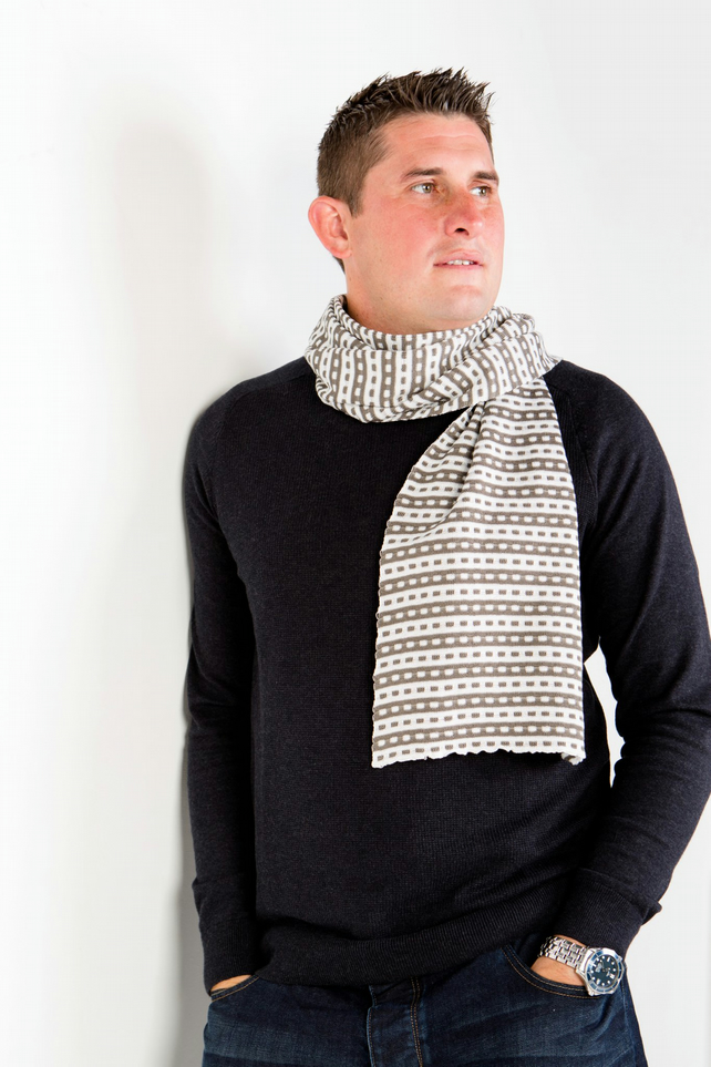 Men's Scarf, Grey Scarf, Designer Scarf, Men's Fashion,  Squares Scarf 81