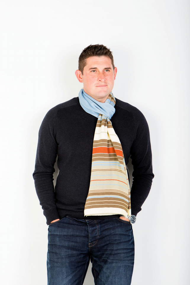 Men's Scarf, Men's Accessories,  Striped Scarf 236