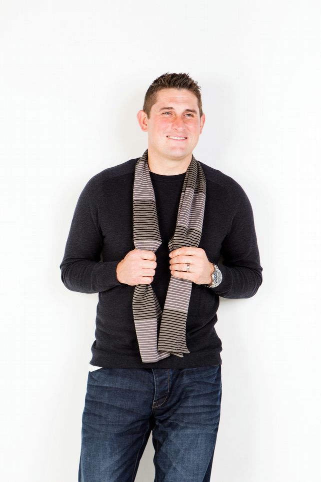 Men's Scarf, Grey Scarf,  Striped Scarf , 136
