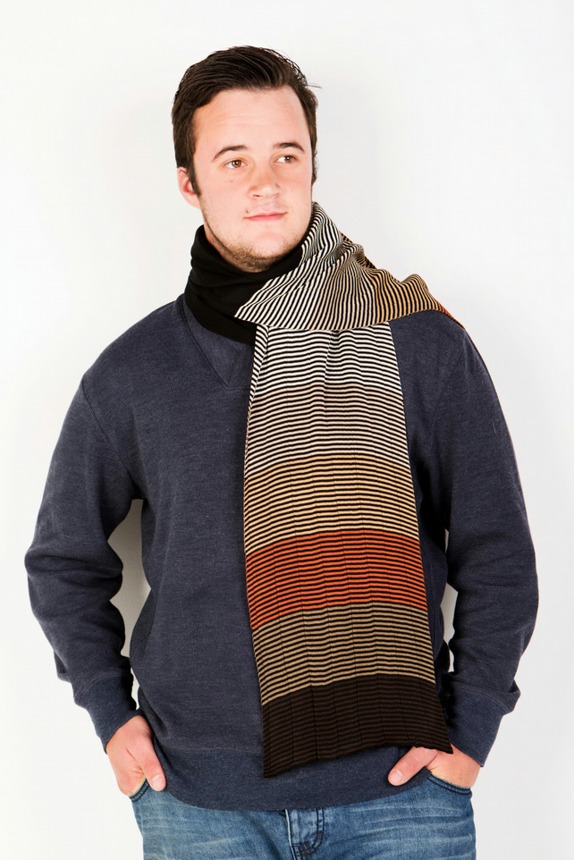 Brown Scarf, Black Scarf, Striped Scarf, Men's Accessories, 301