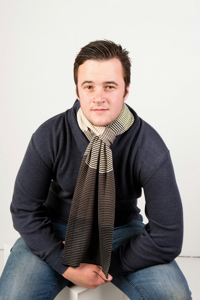 Men's Scarf, Men's Accessories, Grey Scarf, Brown Scarf, Striped Scarf 312