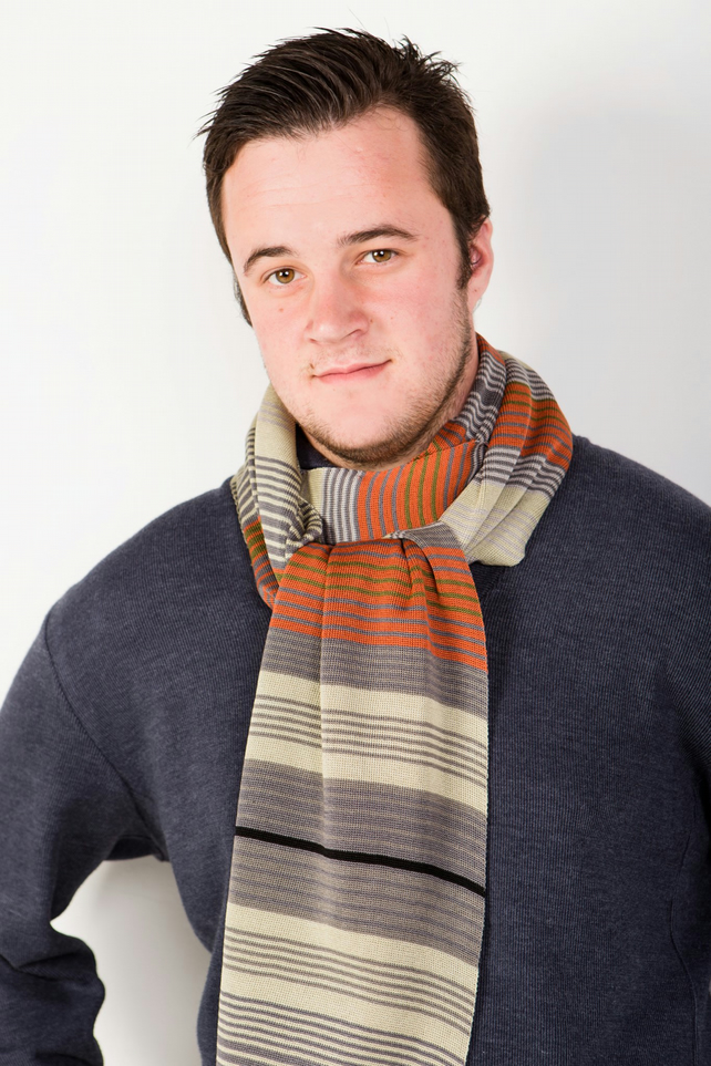 Men's Tan and Grey Striped Scarf 314