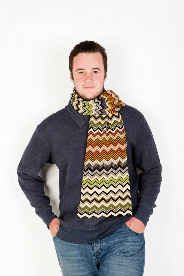 Green, Brown and Grey Chevron Scarf 196
