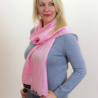 Carnation, Pink and White, Chevron, Casual, Scarf 107