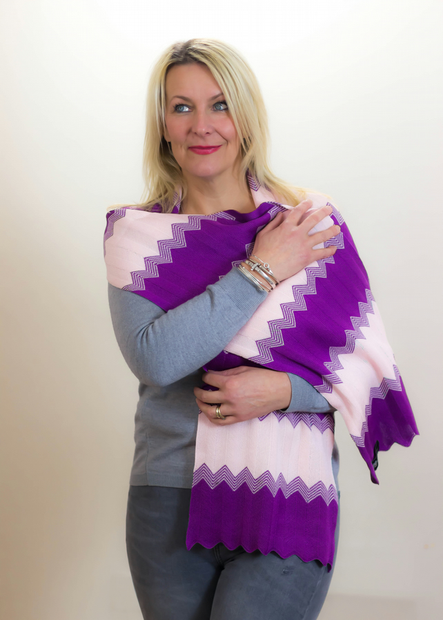 Purple and Pink, Chevron, Scarf, Casual 110