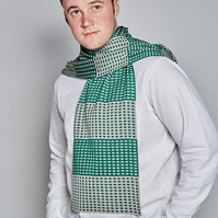 Men's Squares Scarf, Green Scarf, Unisex Scarf, Men's Accessories, 80
