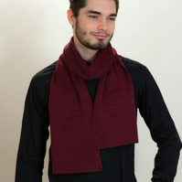 Burgundy Scarf, Hand Crafted Scarf, British Scarves, Men's Scarf, 373