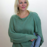 Green Poncho, Lace Poncho, Winter Poncho, Knitted Poncho, Hand made poncho, 55