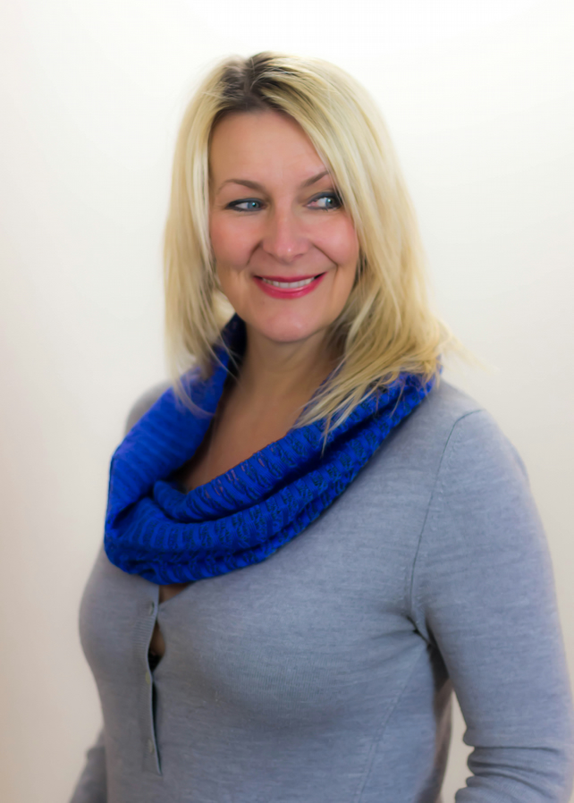 Cobalt Cowl, Lace Snood, Spring Cowl, Hand Crafted Cowl, Knitted Cowl,