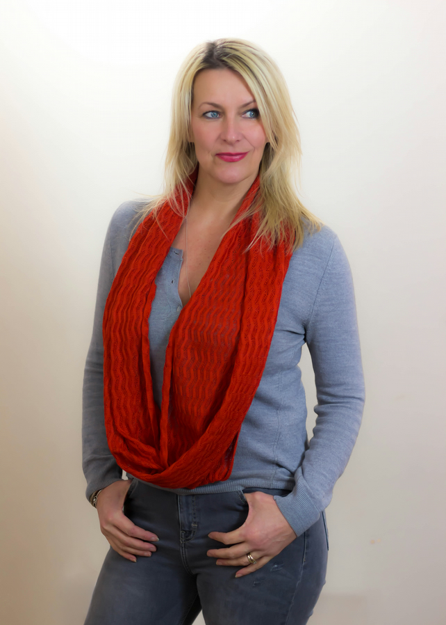 Rust Red Scarf, Lace Infinity Scarf, Scarlet Infinity Scarf,Autumn Scarf