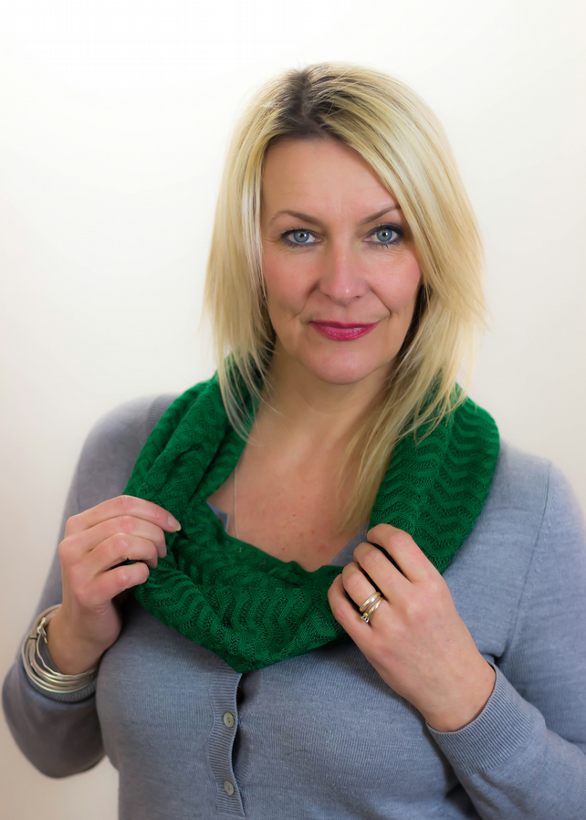 Green Cowl, Green Snood, Lace Cowl, Autumn Snood, Head Wear, Neck Warmer