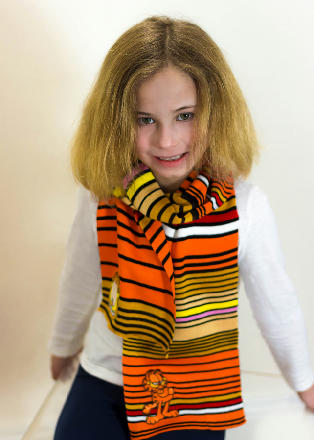 Garfield Scarf, Orange Scarf, Kidswear, School Accessories,  Scarf,368
