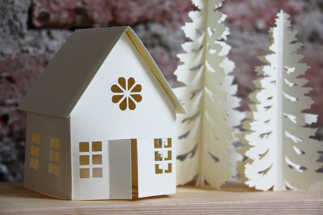 winter christmas village paper decoration 3d p folksy