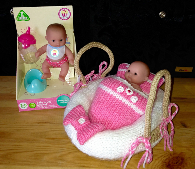 Knitting Pattern For Dolls Moses Basket : Hand Knitted Moses Basket (Dolls Carry Cot) in... - Folksy