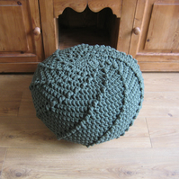 The Urchin Pouf.  Handmade in Wales Crochet Pouf footstools in t-shirt yarn